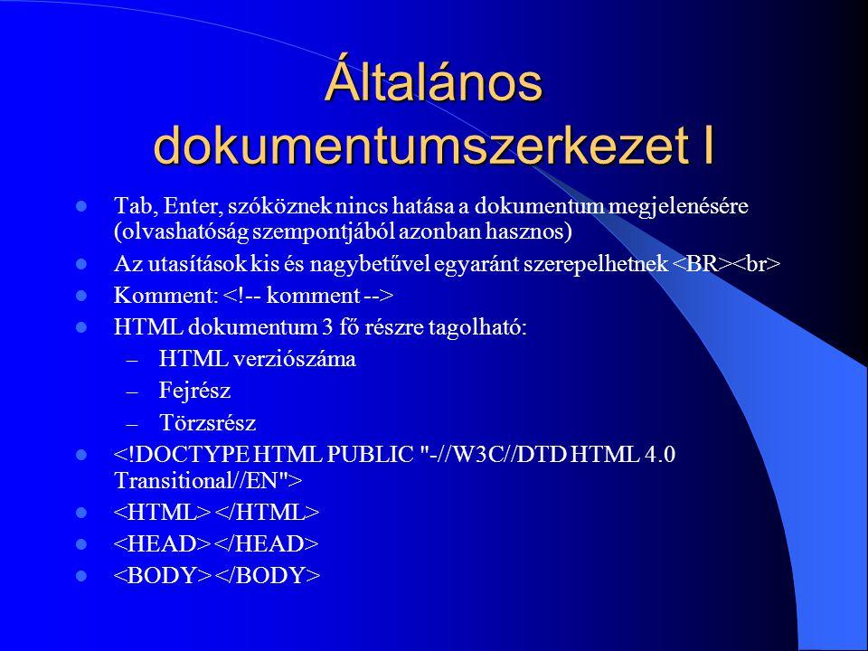 Általános dokumentumszerkezet I