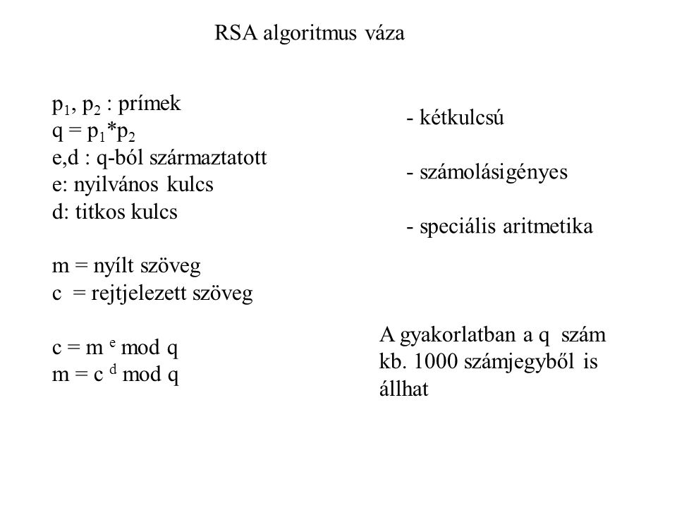 RSA algoritmus váza p1, p2 : prímek. q = p1*p2. e,d : q-ból származtatott. e: nyilvános kulcs. d: titkos kulcs.