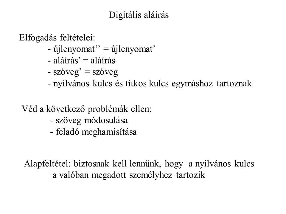 Digitális aláírás Elfogadás feltételei: - újlenyomat'' = újlenyomat' - aláírás' = aláírás. - szöveg' = szöveg.