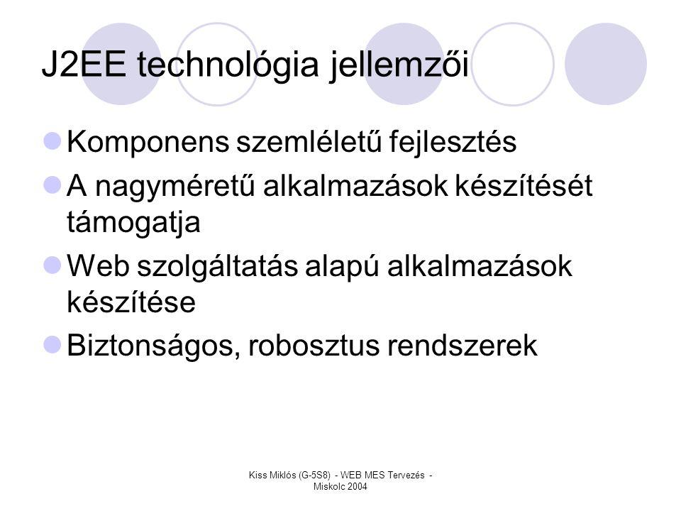 J2EE technológia jellemzői