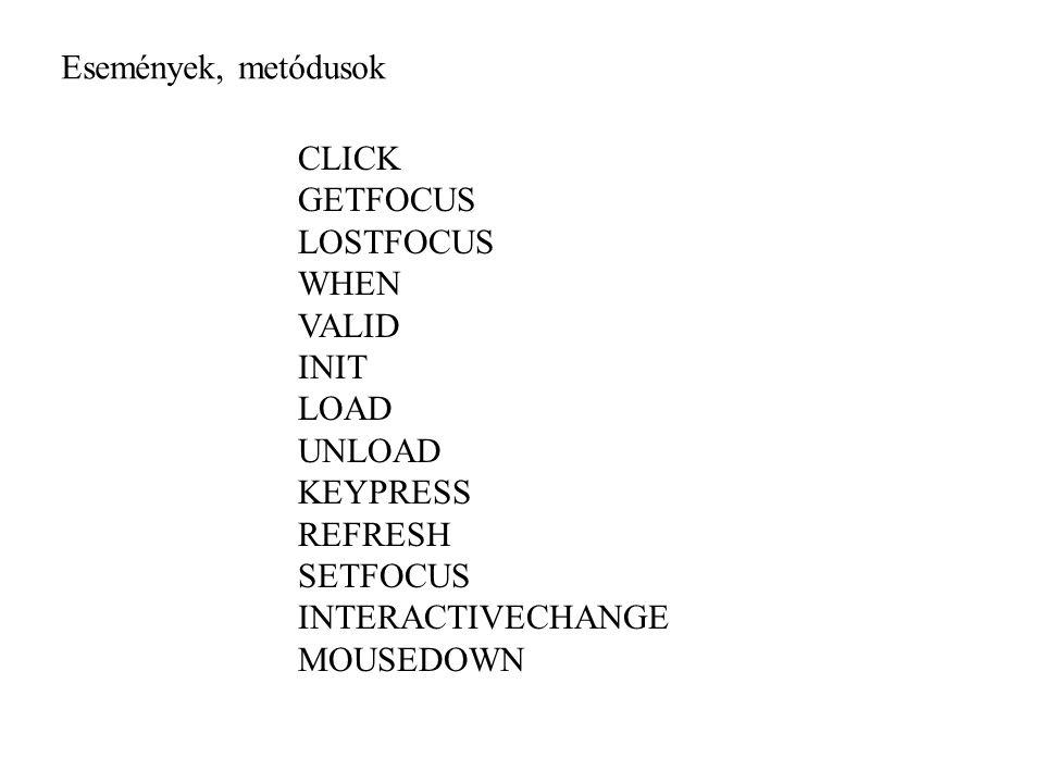 Események, metódusok CLICK. GETFOCUS. LOSTFOCUS. WHEN. VALID. INIT. LOAD. UNLOAD. KEYPRESS.