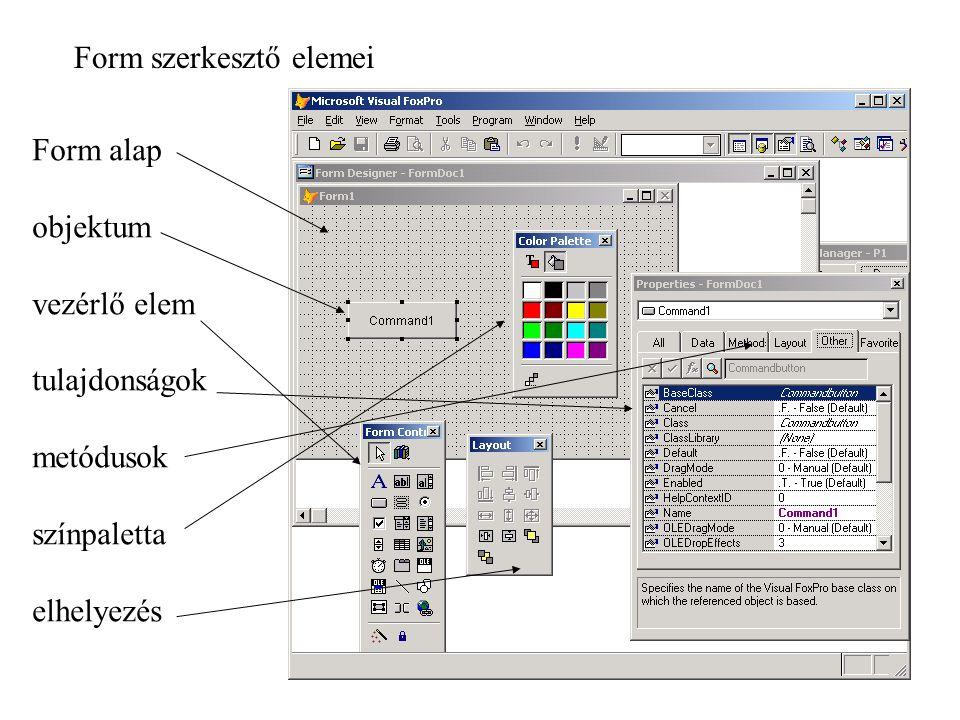 Form szerkesztő elemei