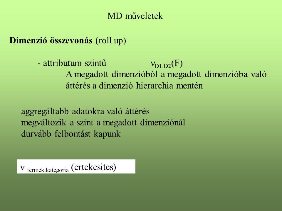 MD műveletek Dimenzió összevonás (roll up) - attributum szintű D1.D2(F) A megadott dimenzióból a megadott dimenzióba való.