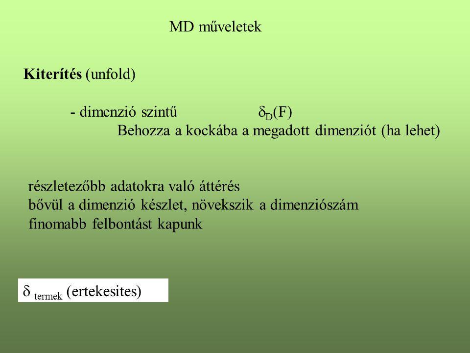 MD műveletek Kiterítés (unfold) - dimenzió szintű D(F) Behozza a kockába a megadott dimenziót (ha lehet)