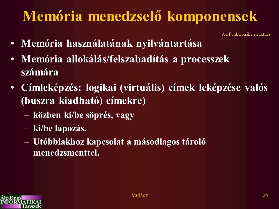 Memória menedzselő komponensek