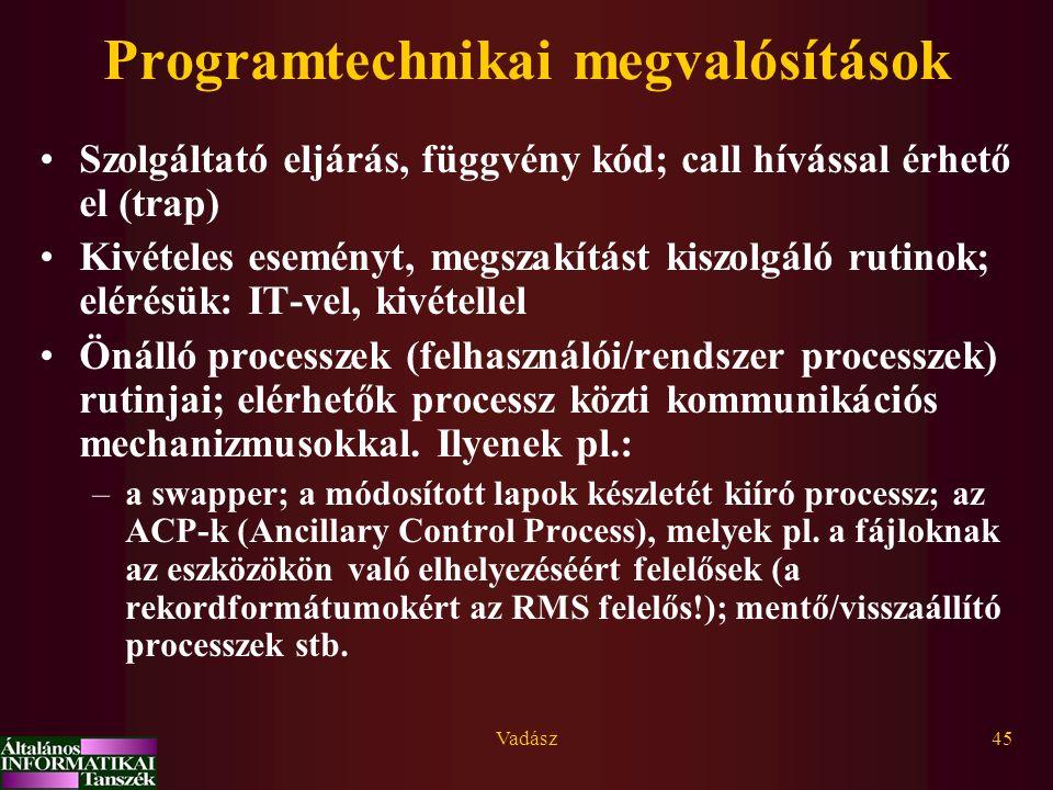 Programtechnikai megvalósítások