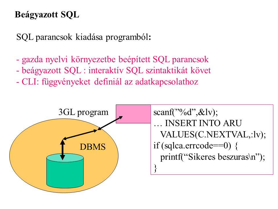 Beágyazott SQL SQL parancsok kiadása programból: - gazda nyelvi környezetbe beépített SQL parancsok.