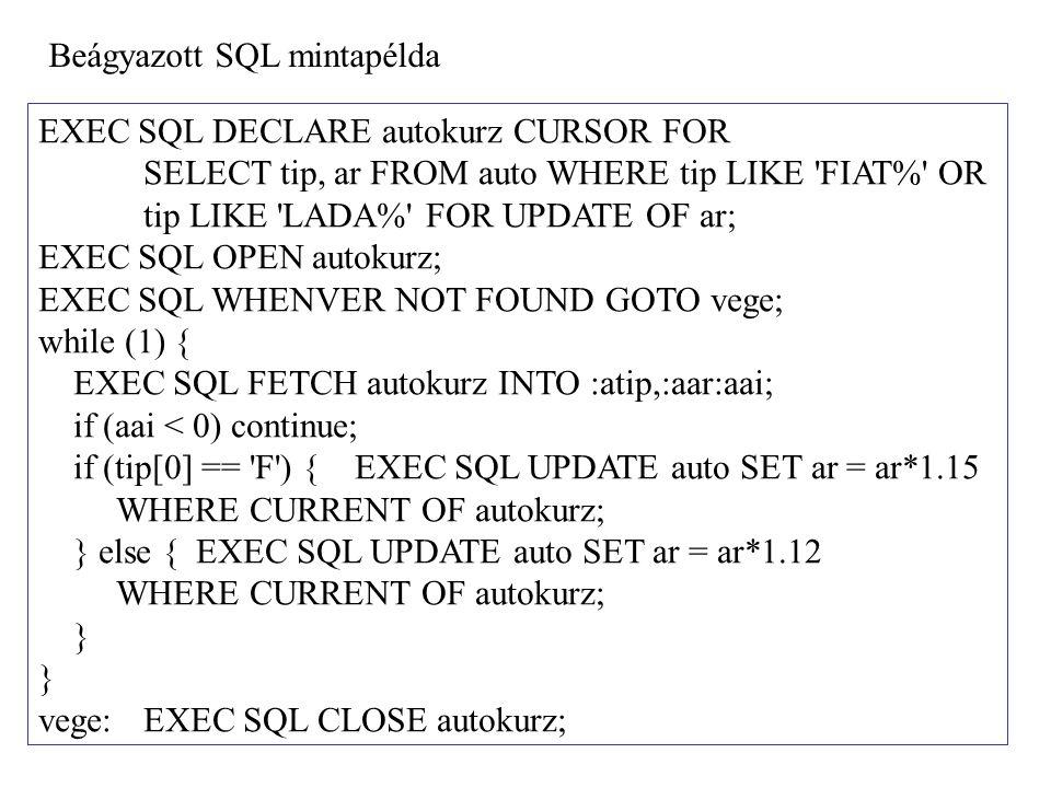 Beágyazott SQL mintapélda