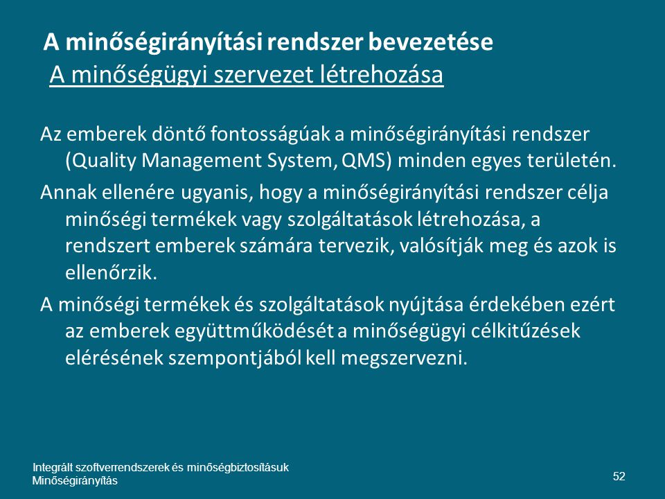 Inte A minőségirányítási rendszer bevezetése A minőségügyi szervezet létrehozása.