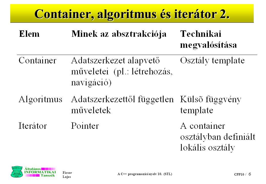 Container, algoritmus és iterátor 2.