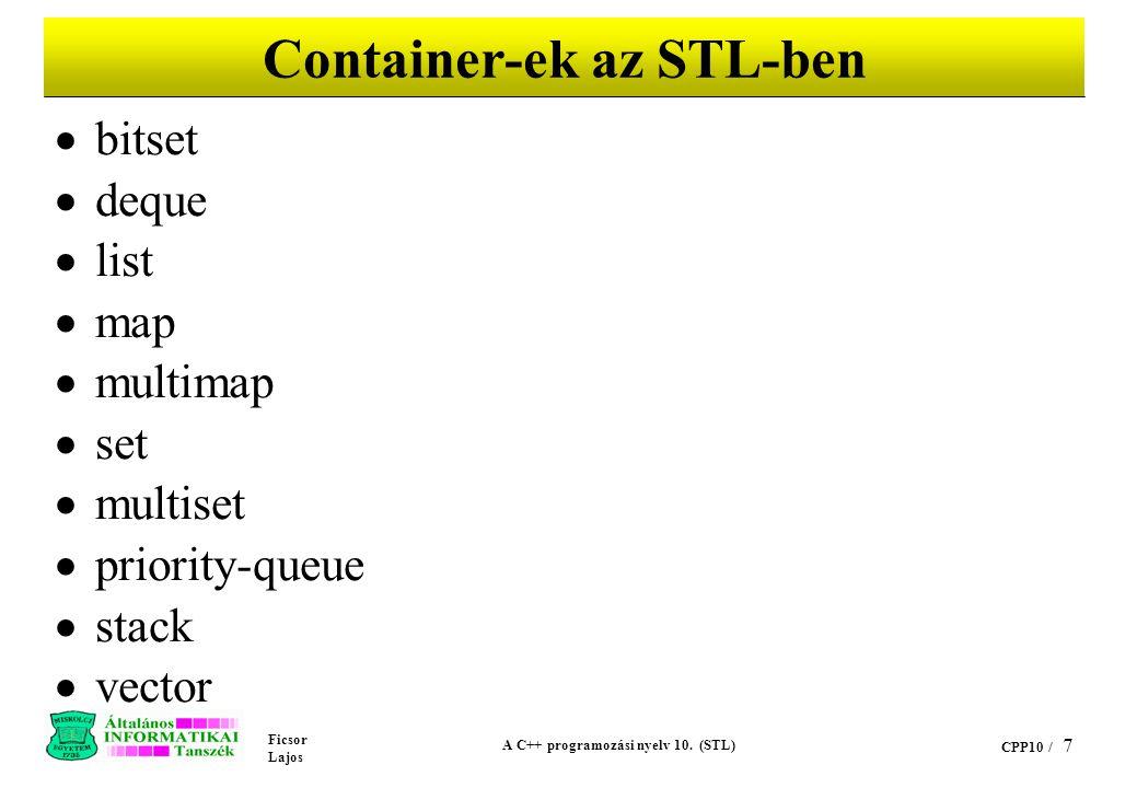 Container-ek az STL-ben