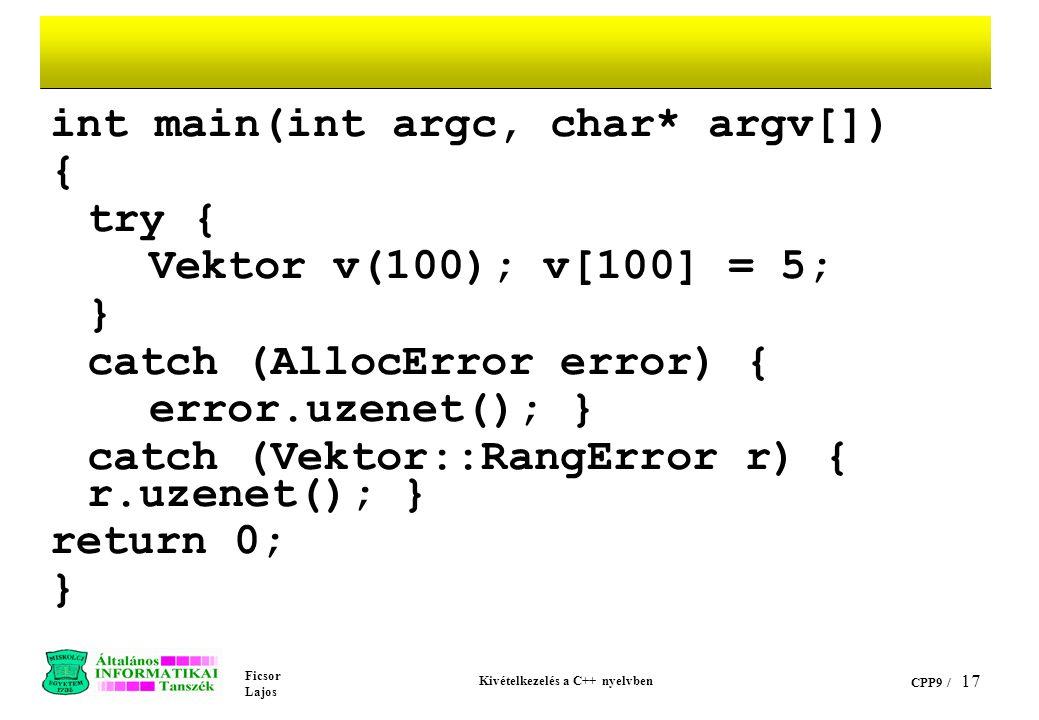 Kivételkezelés a C++ nyelvben