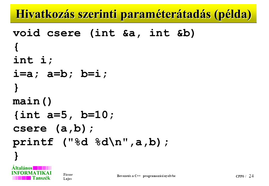 Hivatkozás szerinti paraméterátadás (példa)