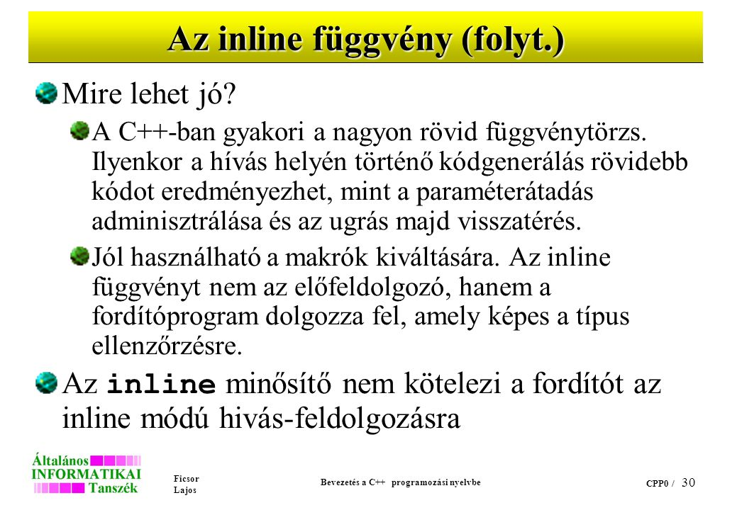 Az inline függvény (folyt.)