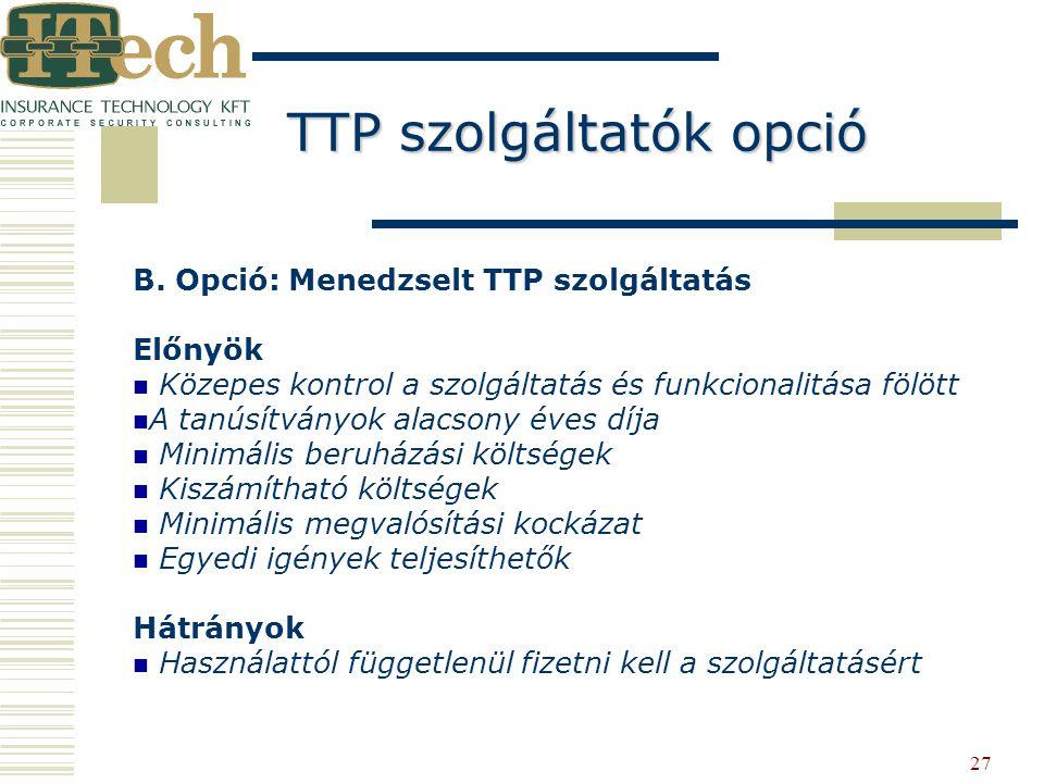 TTP szolgáltatók opció