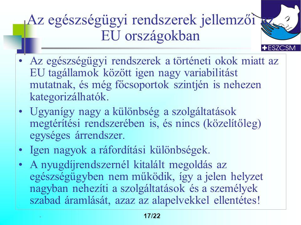 Az egészségügyi rendszerek jellemzői az EU országokban