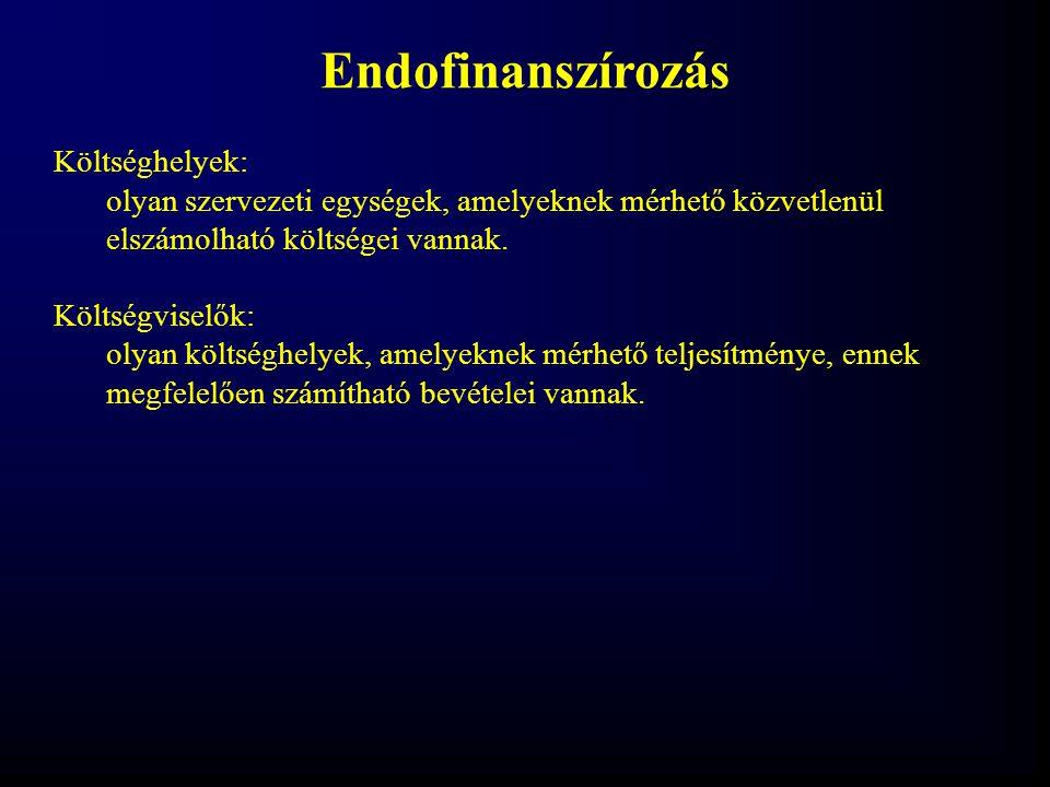 Endofinanszírozás Költséghelyek: