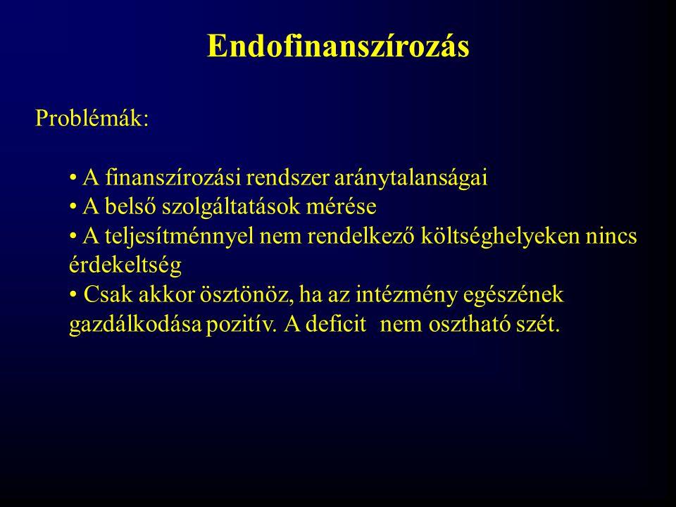 Endofinanszírozás Problémák: A finanszírozási rendszer aránytalanságai