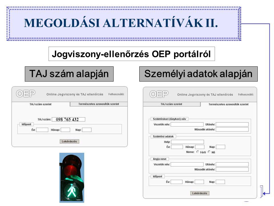 MEGOLDÁSI ALTERNATÍVÁK II.