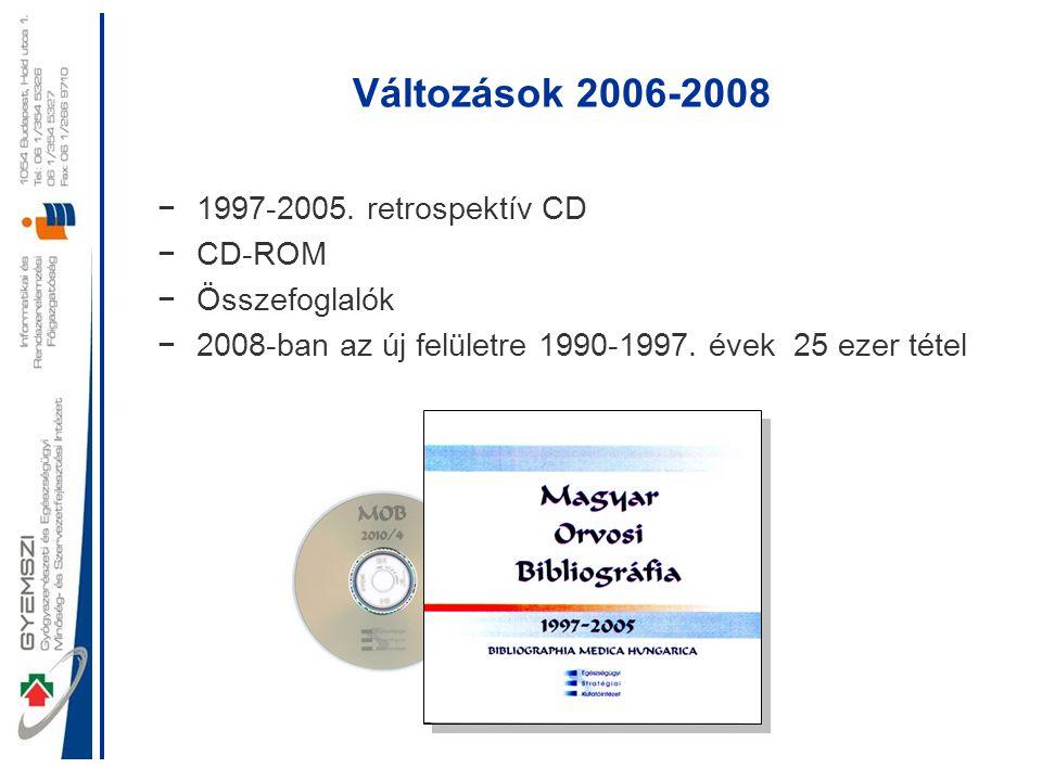 Változások 2006-2008 1997-2005. retrospektív CD CD-ROM Összefoglalók