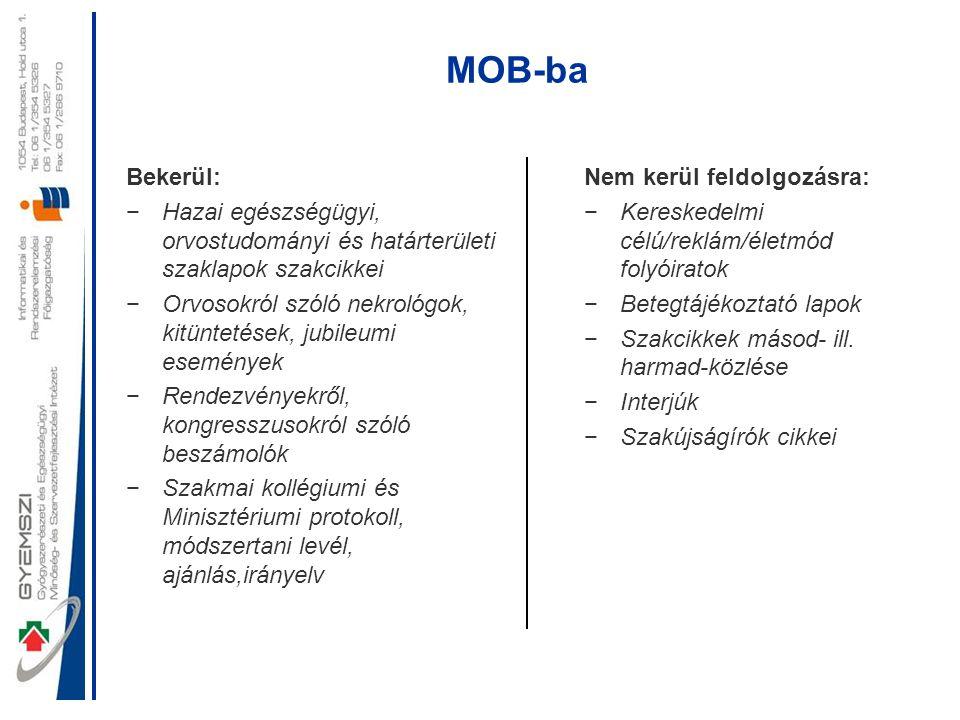 MOB-ba Bekerül: Hazai egészségügyi, orvostudományi és határterületi szaklapok szakcikkei.