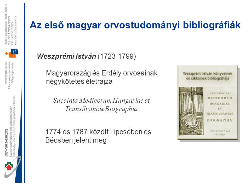Az első magyar orvostudományi bibliográfiák