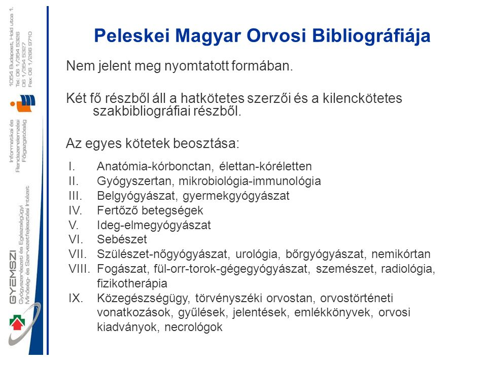 Peleskei Magyar Orvosi Bibliográfiája
