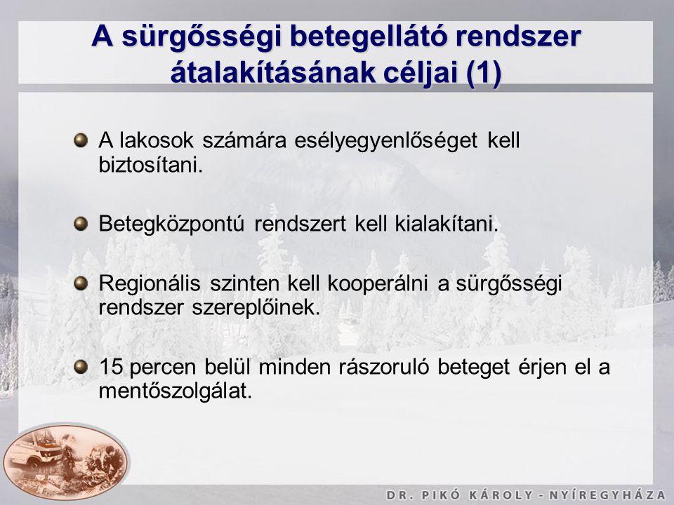 A sürgősségi betegellátó rendszer átalakításának céljai (1)