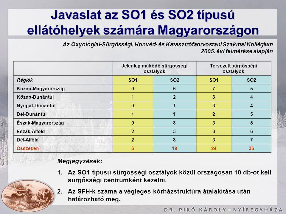 Javaslat az SO1 és SO2 típusú ellátóhelyek számára Magyarországon