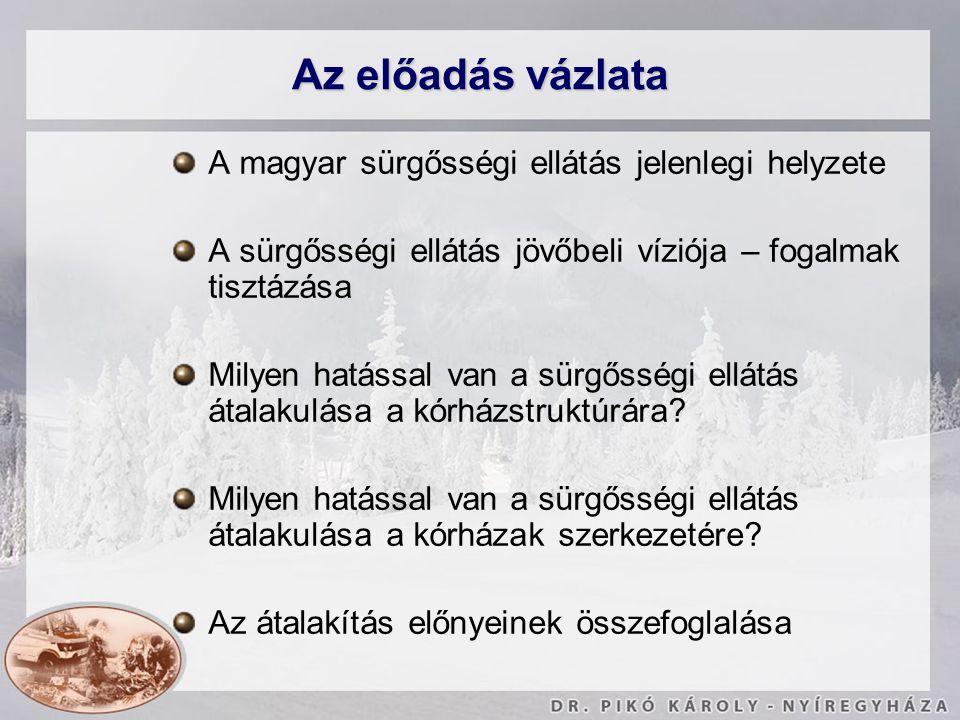 Az előadás vázlata A magyar sürgősségi ellátás jelenlegi helyzete