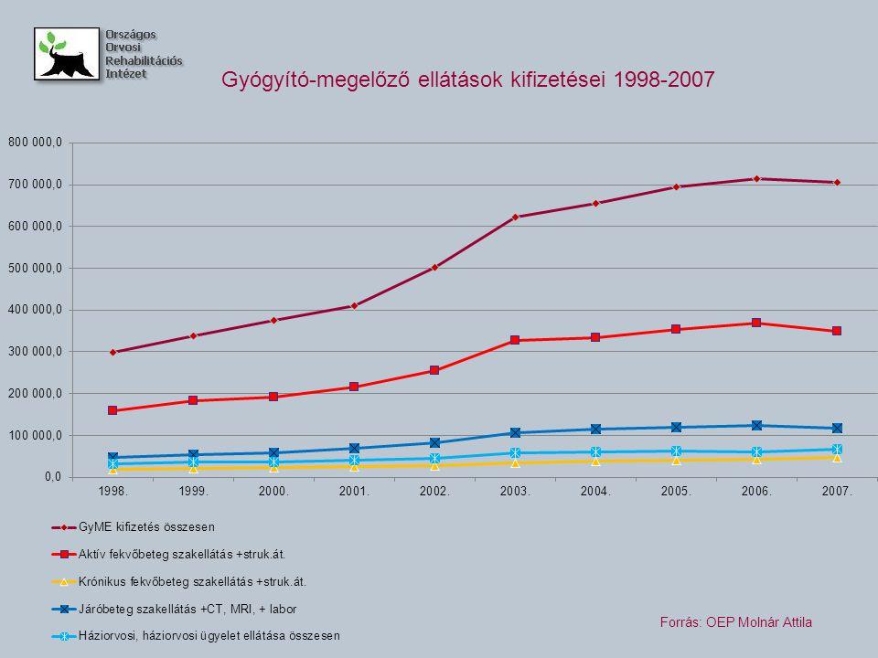Gyógyító-megelőző ellátások kifizetései 1998-2007