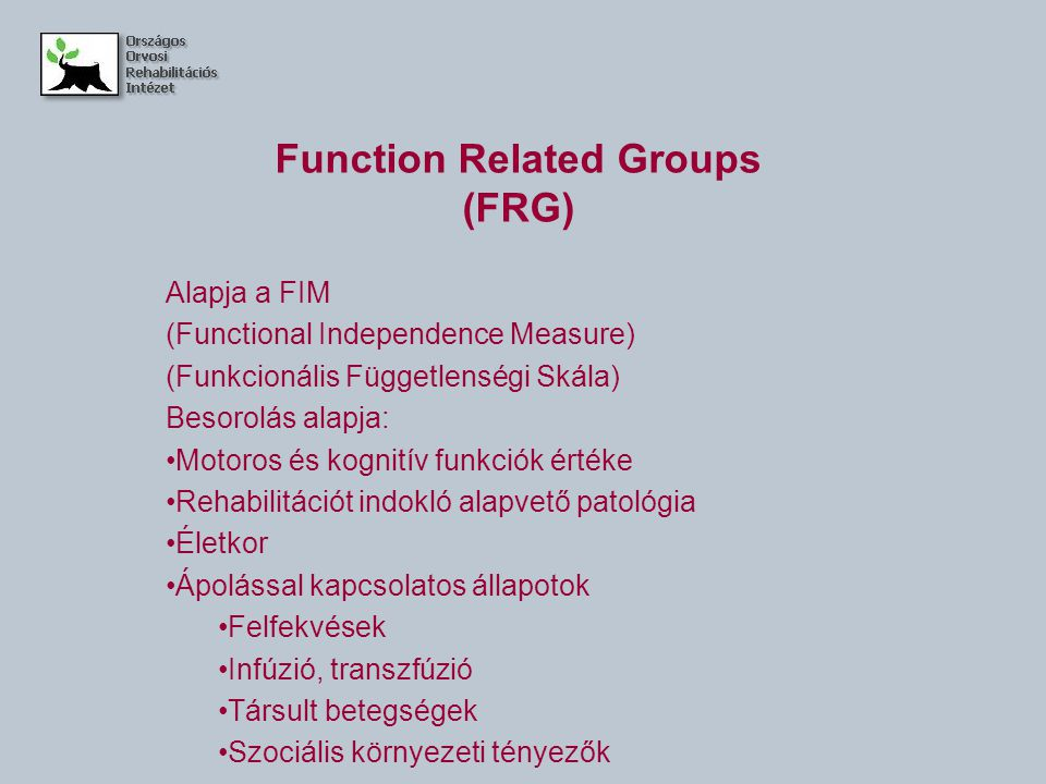 Function Related Groups (FRG)