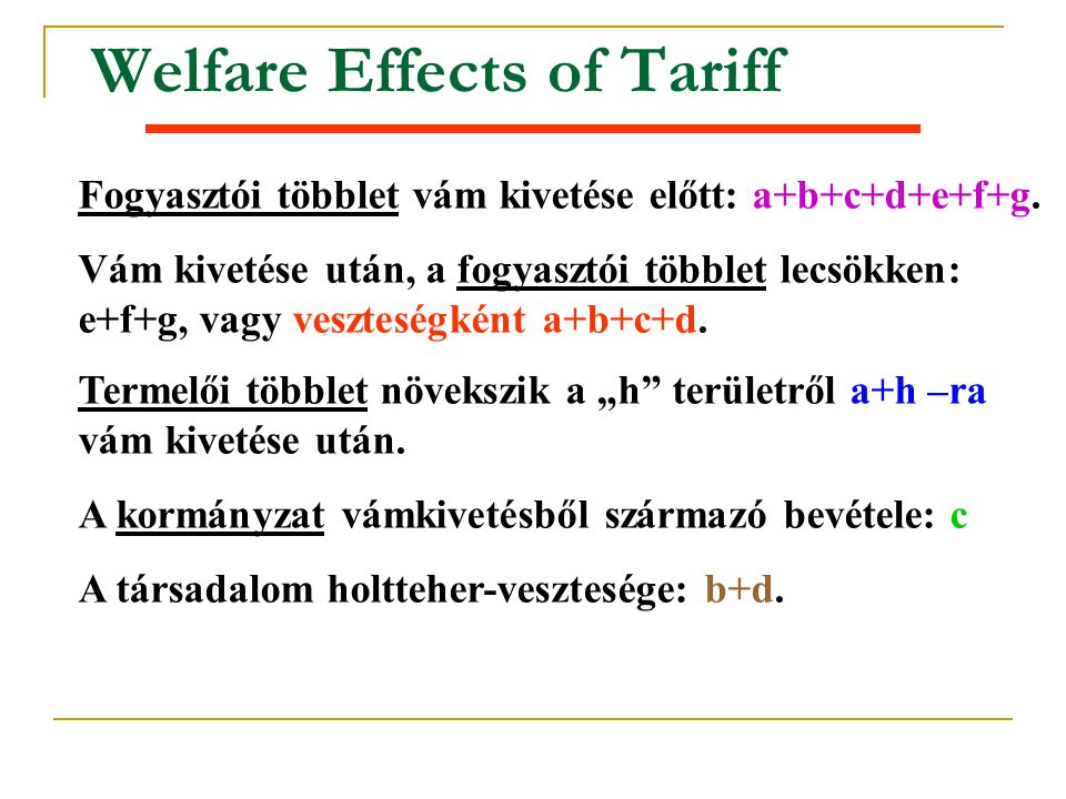 Welfare Effects of Tariff