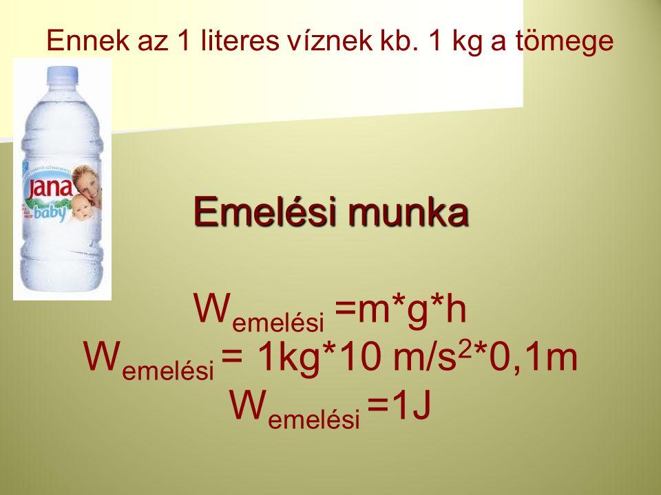 Emelési munka Wemelési =m*g*h Wemelési = 1kg*10 m/s2*0,1m Wemelési =1J