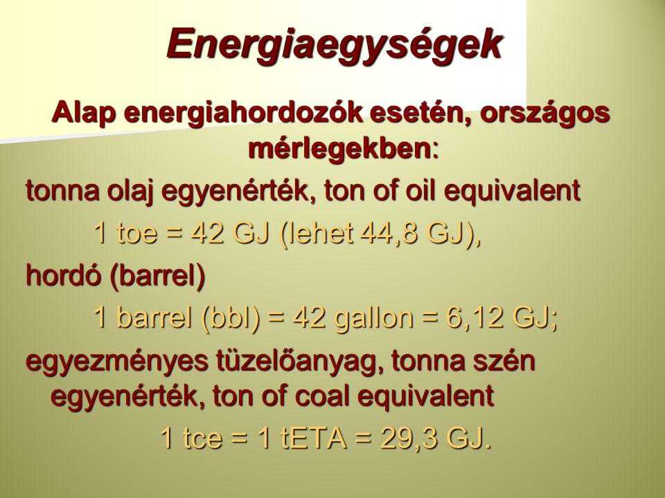 Alap energiahordozók esetén, országos mérlegekben: