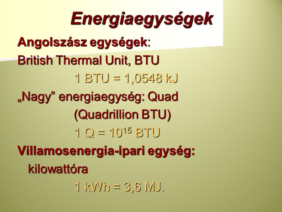 Energiaegységek Angolszász egységek: British Thermal Unit, BTU