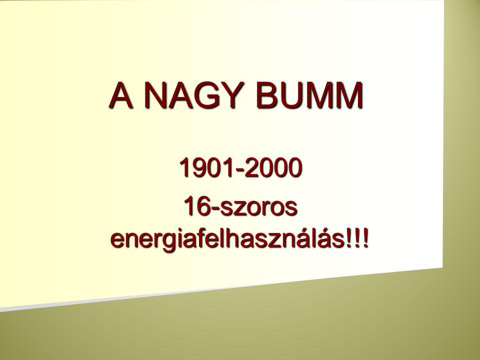 1901-2000 16-szoros energiafelhasználás!!!