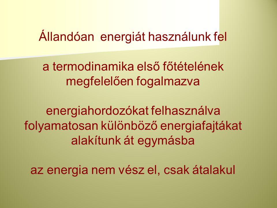 Állandóan energiát használunk fel