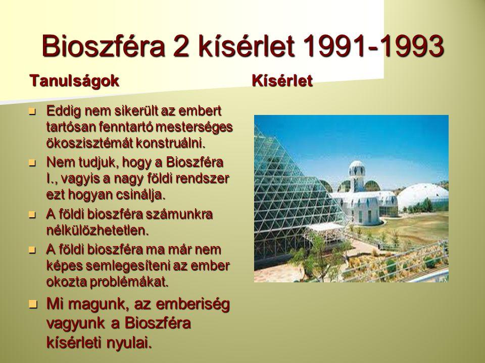 Bioszféra 2 kísérlet 1991-1993 Tanulságok Kísérlet