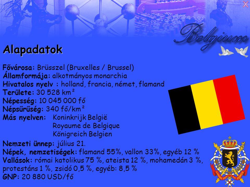 Alapadatok Fővárosa: Brüsszel (Bruxelles / Brussel)