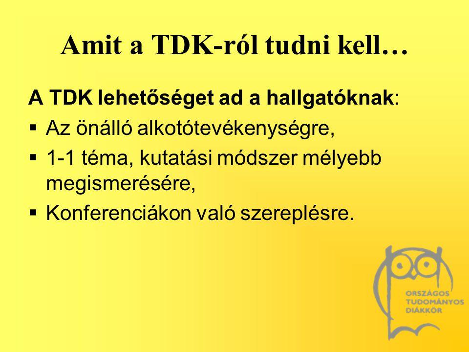 Amit a TDK-ról tudni kell…