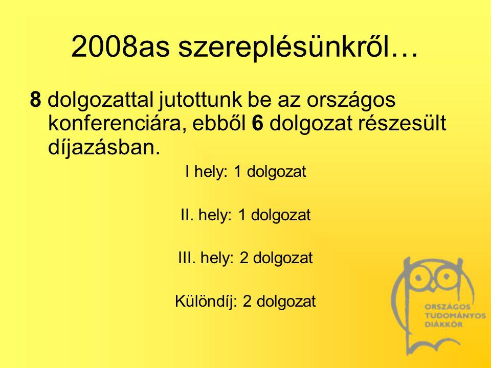 2008as szereplésünkről… 8 dolgozattal jutottunk be az országos konferenciára, ebből 6 dolgozat részesült díjazásban.