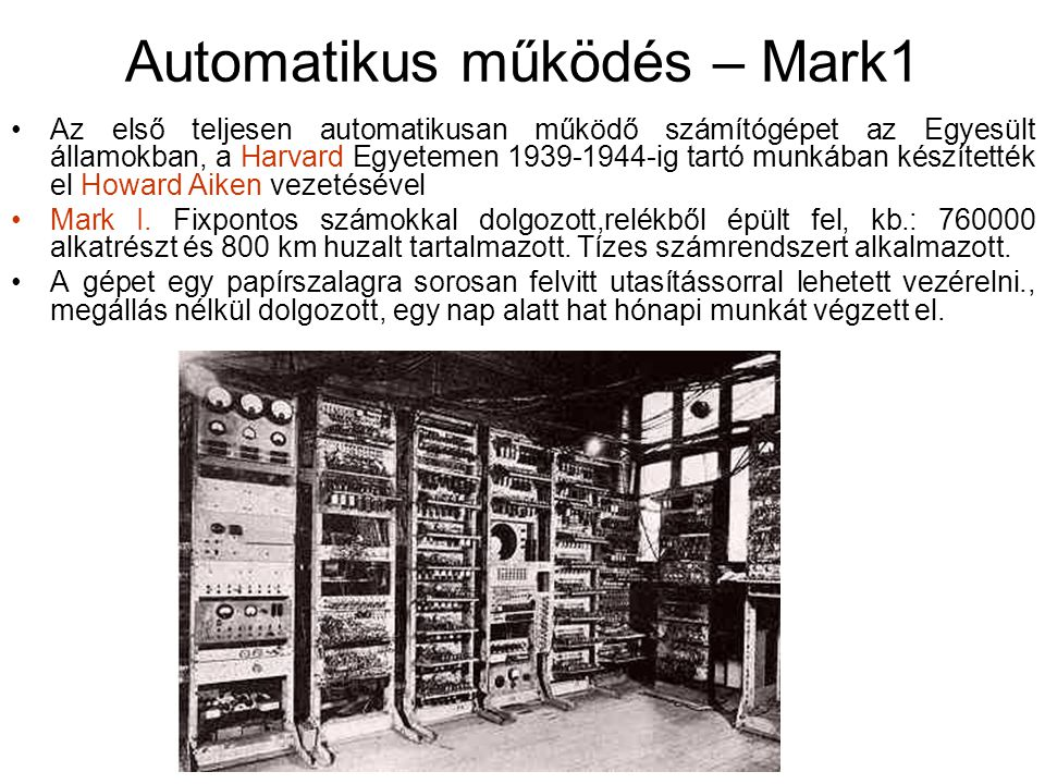 Automatikus működés – Mark1