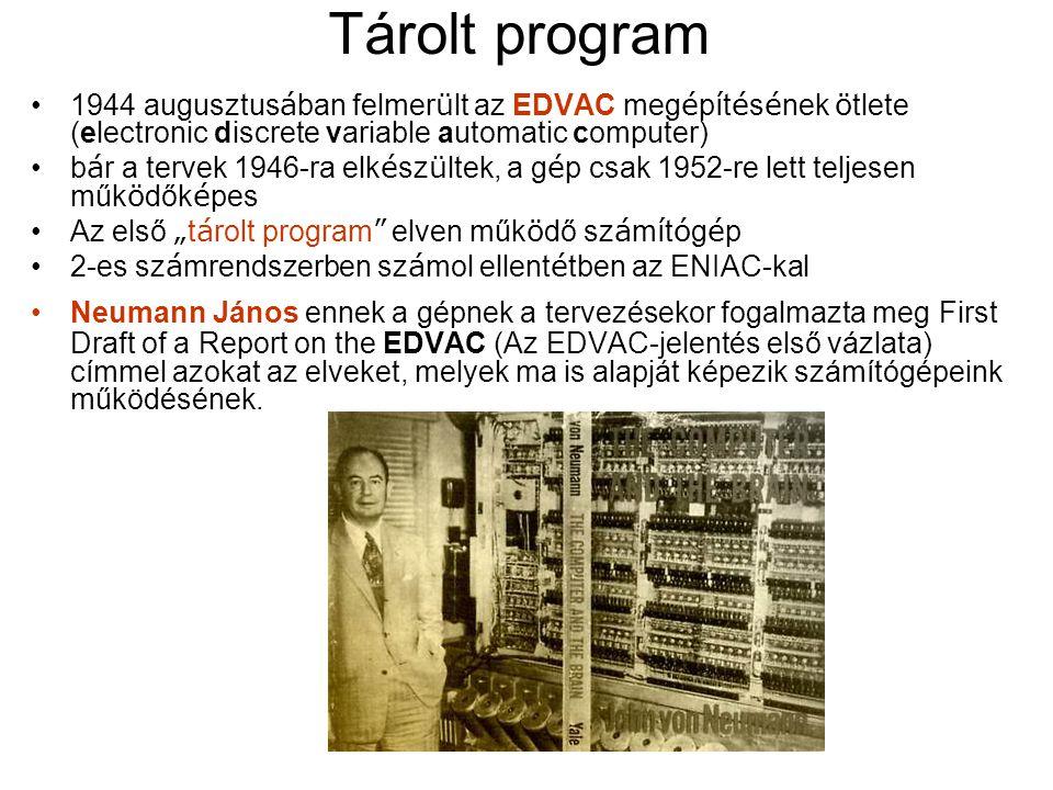 Tárolt program 1944 augusztusában felmerült az EDVAC megépítésének ötlete (electronic discrete variable automatic computer)