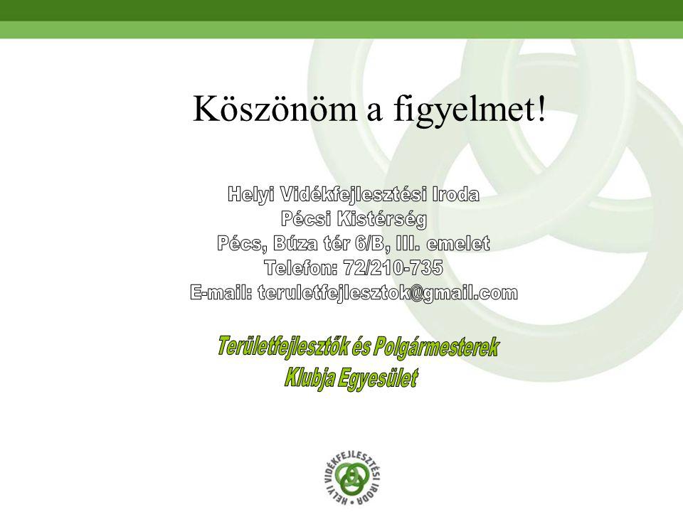 Köszönöm a figyelmet! Helyi Vidékfejlesztési Iroda Pécsi Kistérség