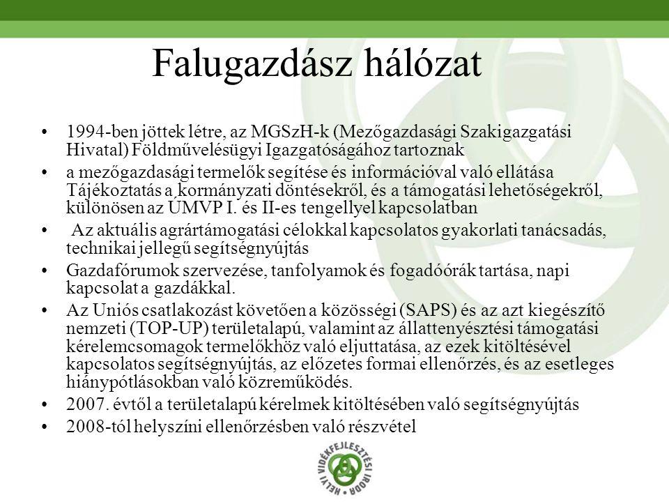 Falugazdász hálózat 1994-ben jöttek létre, az MGSzH-k (Mezőgazdasági Szakigazgatási Hivatal) Földművelésügyi Igazgatóságához tartoznak.