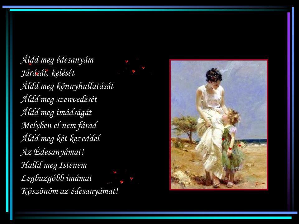 Áldd meg édesanyám Járását, kelését. Áldd meg könnyhullatását. Áldd meg szenvedését. Áldd meg imádságát.