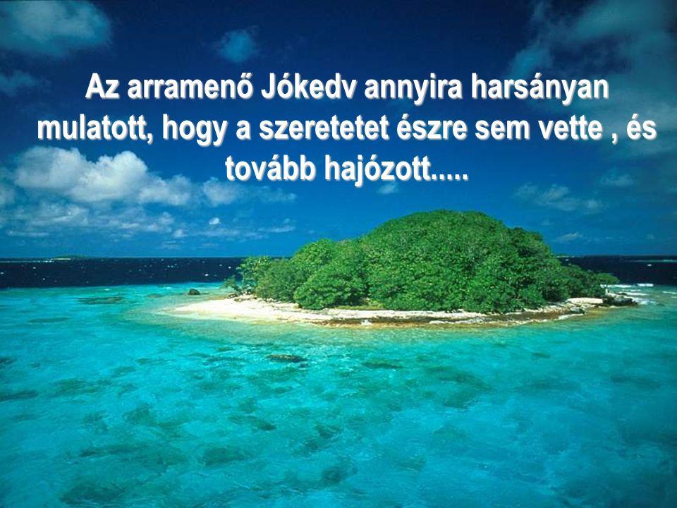 Az arramenő Jókedv annyira harsányan mulatott, hogy a szeretetet észre sem vette , és tovább hajózott.....