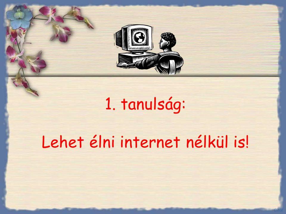 1. tanulság: Lehet élni internet nélkül is!