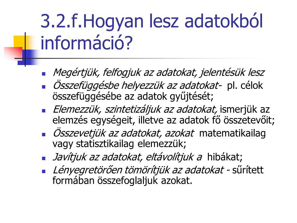 3.2.f.Hogyan lesz adatokból információ